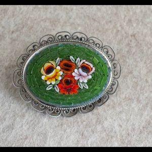 Vintage Mosaic Stone Pin